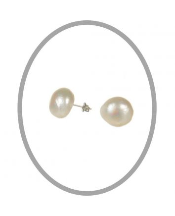 Baroque Freshwater White Pearl Studs