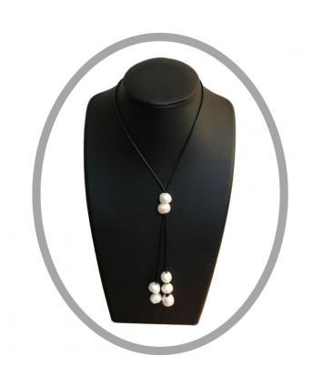 Hope Adjustable Black Corded Pearl Necklace
