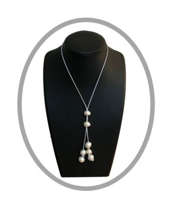 Hope Adjustable Silver Corded Pearl Necklace