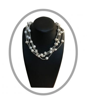 Faith - Freshwater Pearls and Grey Leather Short Necklace