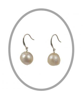 Baroque Freshwater White Pearl Hook Earrings